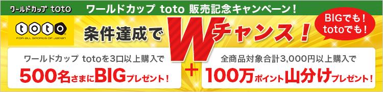 ワールドカップ toto 販売記念キャンペーン! 条件達成でWチャンス!
